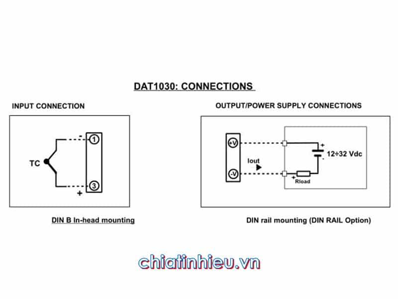 Sơ đồ kết nối bộ chuyển đổi tín hiệu nhiệt độ Datexel DAT1030